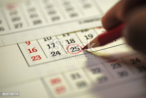 istock 25th day of the month marked in calendar 823729770