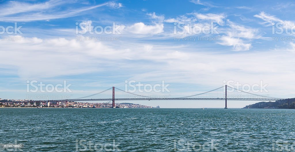 25th of April bridge in Lisbon Portugal stock photo