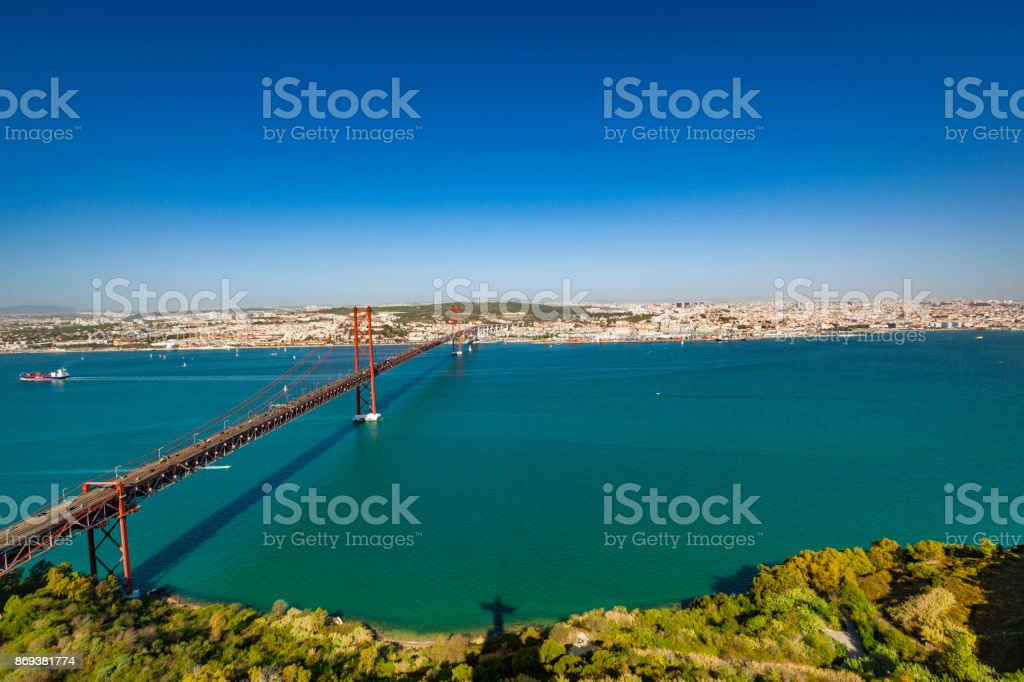 25th of april bridge in lisbon, portugal stock photo