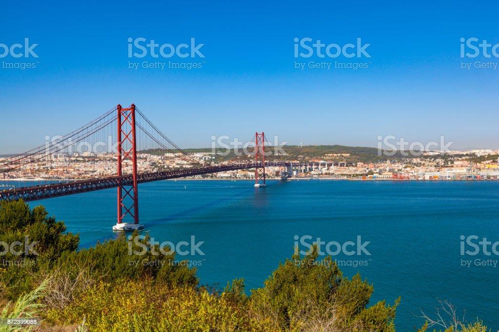 25th of april bridge in lisbon, portugal stock photo