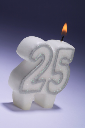 25th Wedding Anniversary Or Birthday Candle Stock Photo - Download Image Now