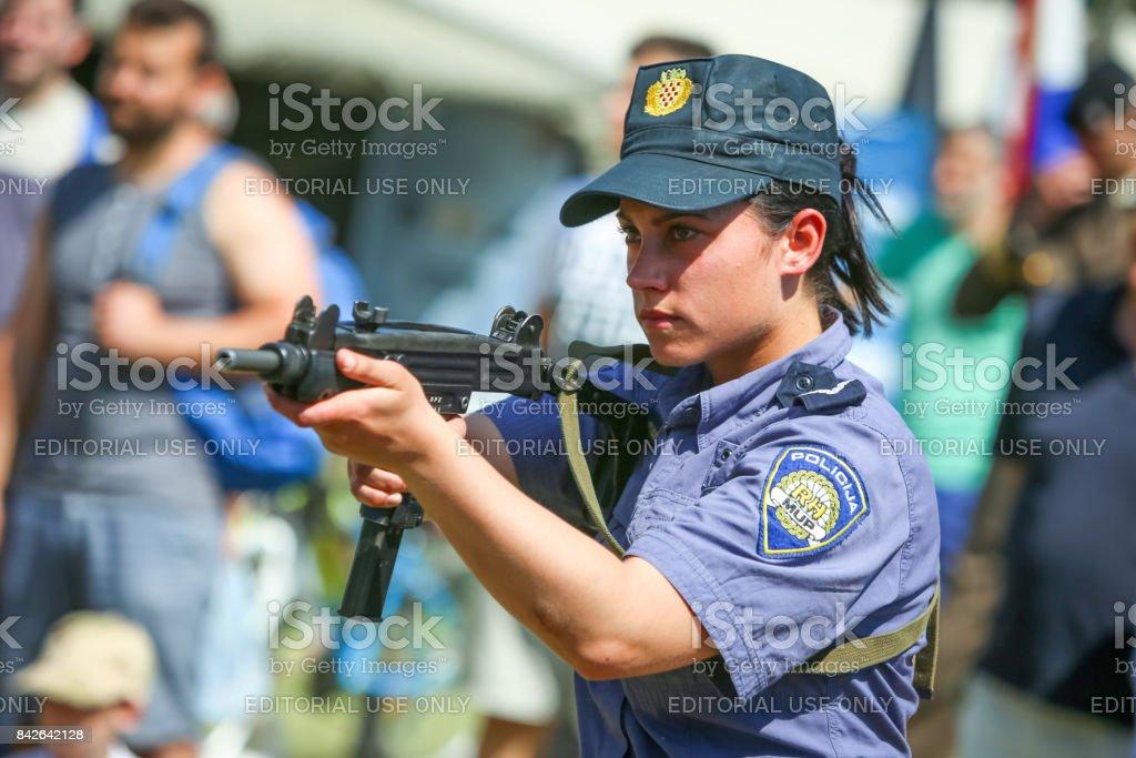 Police training exercise with machine gun Ero at 26th anniversary of...
