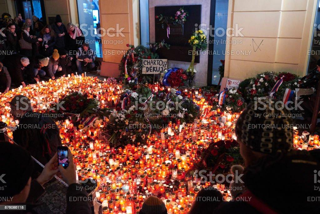 28th anniversary of the Velvet Revolution on Narodni street, Prague stock photo
