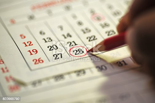 istock 28th day of the month marked in calendar 822665792