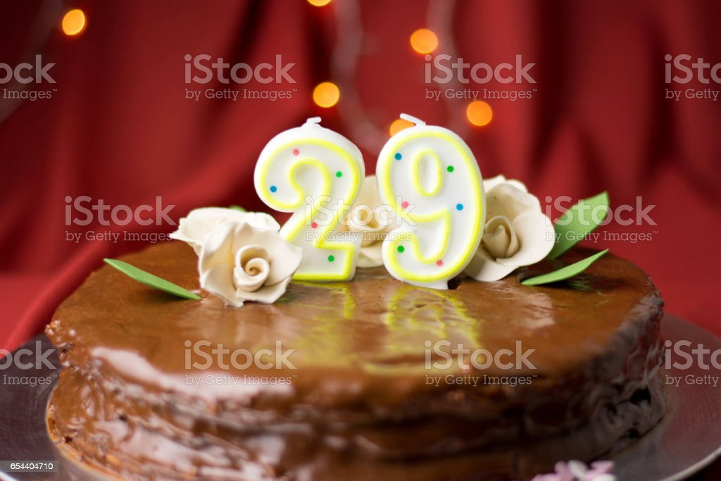 29th Birthday Cake Decorated With Edible Roses Stock Photo More