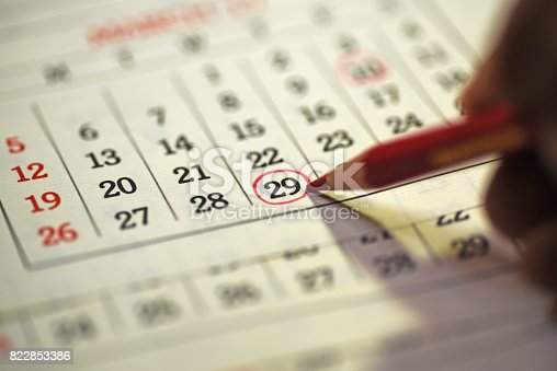 istock 29th day of the month marked in calendar 822853386