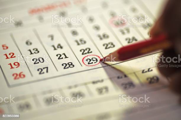 29th day of the month marked in calendar