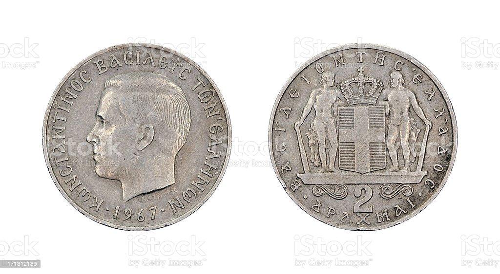 2-Drachma-Coin, Greece, 1967 stock photo
