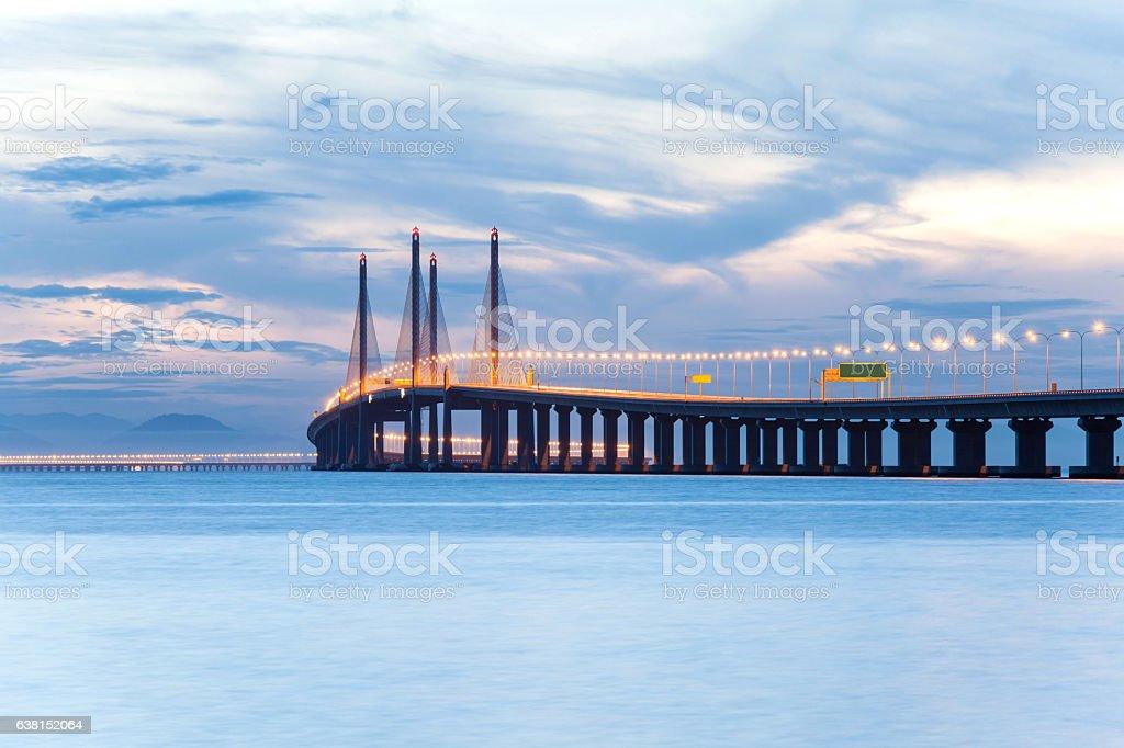 2nd Penang Bridge during dawn stock photo