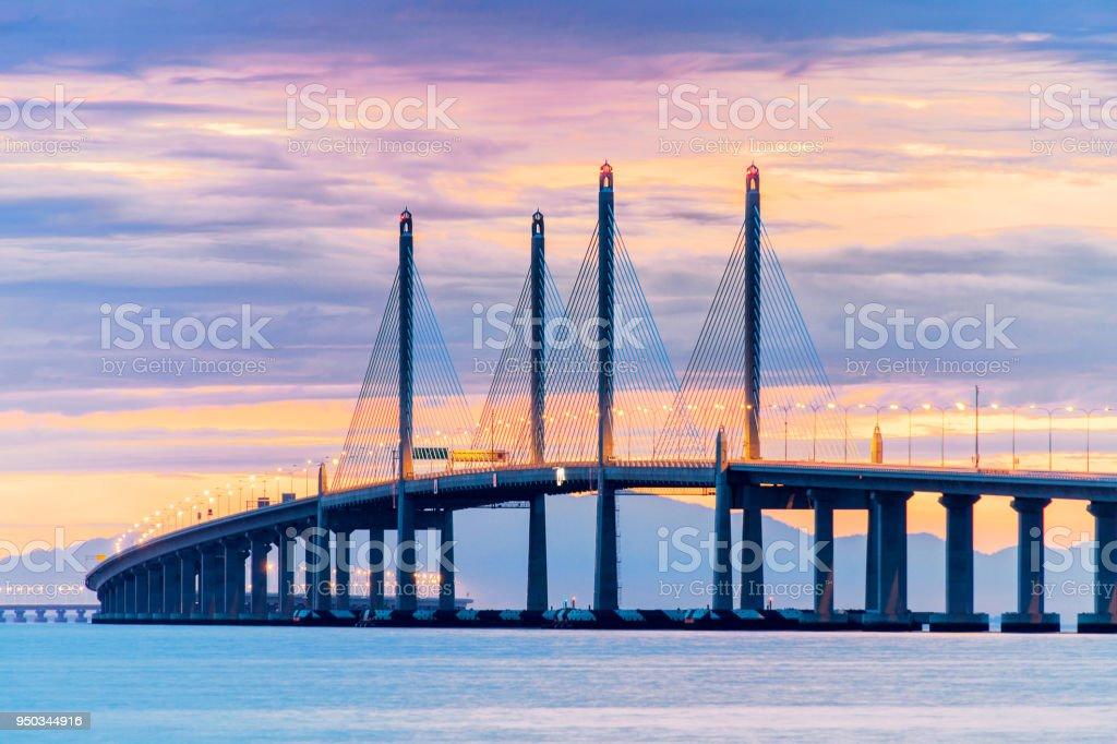 2nd Penang Bridge view during dawn in George Town, Penang, Malaysia stock photo