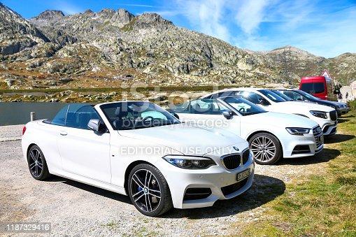 Saint Gotthard Pass, Switzerland - September 14, 2019: Convertible car BMW 2-series (F23) at the countryside.