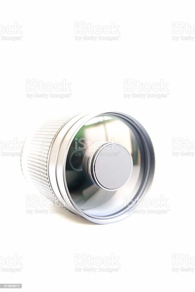 300mm Mirror lens - High Key Front stock photo