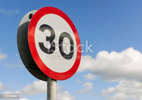 A British road sign for a 30 mile per hour speed limit area.