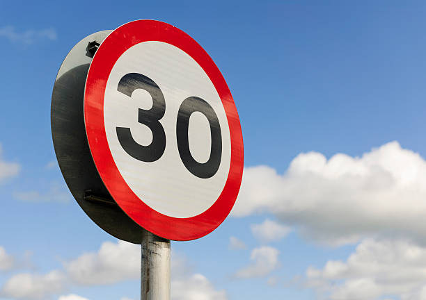 30mph speed limit sign - number 30 stock photos and pictures