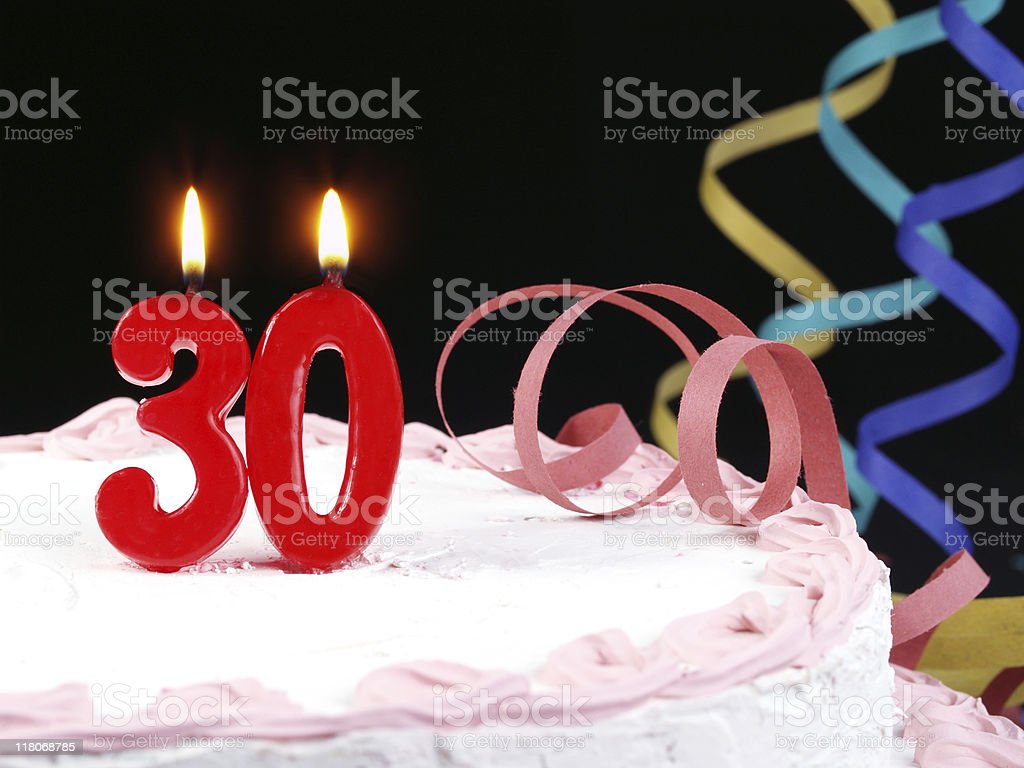 Birthday Candles Cake Candle 30th Anniversary Royalty Free Stock Photo