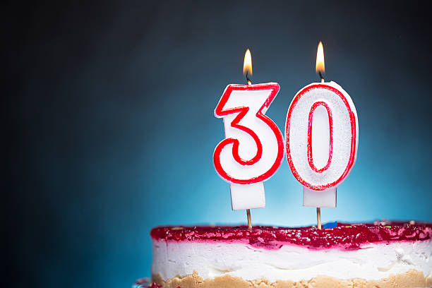 30th birthday candles - number 30 stock photos and pictures