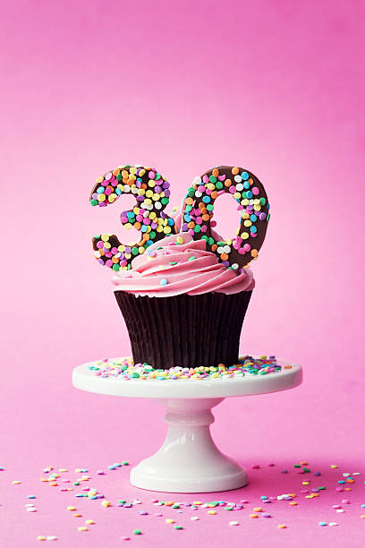 30th birthday cupcake - number 30 stock photos and pictures