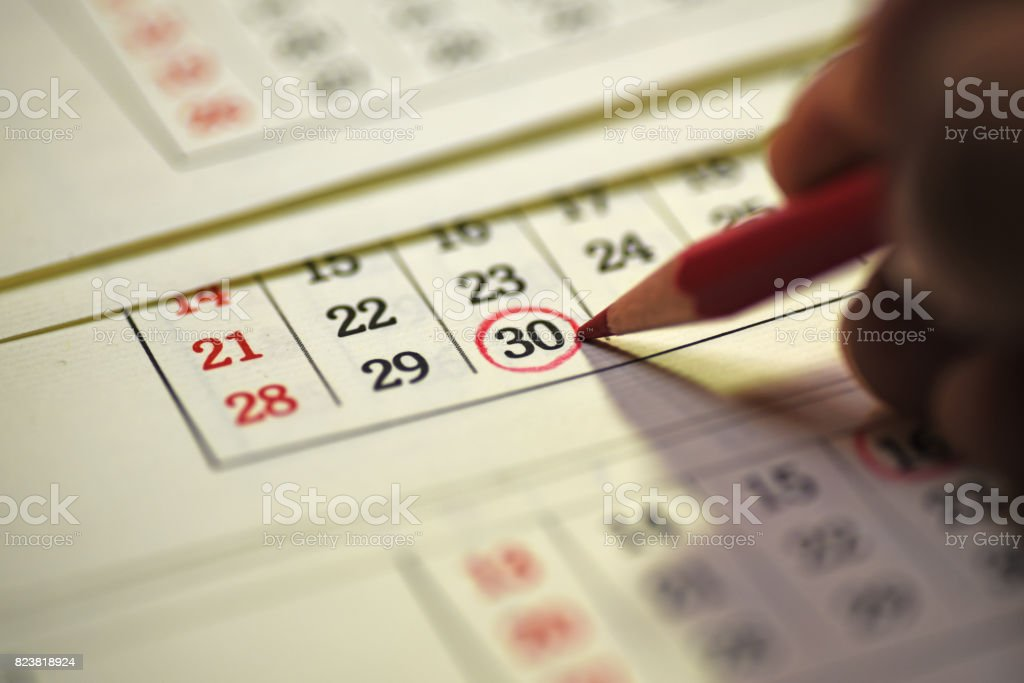 30th day of the month marked in calendar stock photo