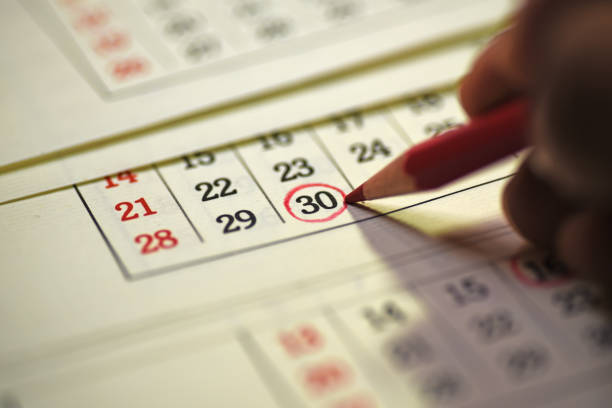 30th day of the month marked in calendar - number 30 stock photos and pictures