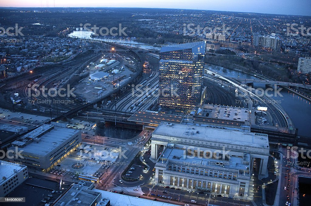 30th St. Station Philadelphia at night stock photo