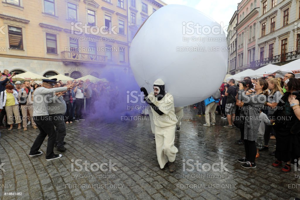 30th Street - International Festival of Street Theaters in Cracow, Poland.  An Odyssey Towards New Shores 'u2013 a street parade stock photo