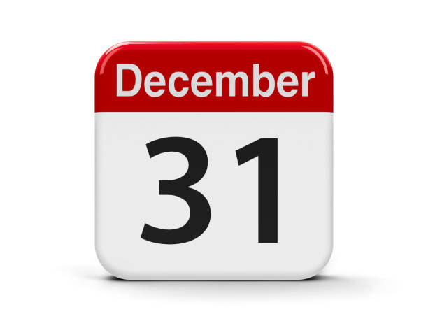 31st December Calendar web button - The Thirty First of December, three-dimensional rendering, 3D illustration december stock pictures, royalty-free photos & images