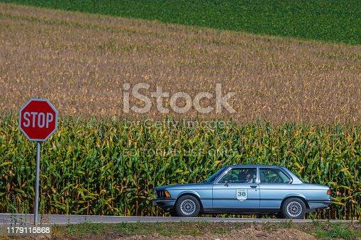Augsburg, Germany - September 29, 2019: 1976 BMW 320i german oldtimer car at the Fuggerstadt Classic 2019 Oldtimer Rallye.