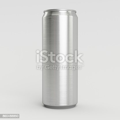 istock 330ml Aluminum Empty 3D Soda Can Render with White Background 860488850
