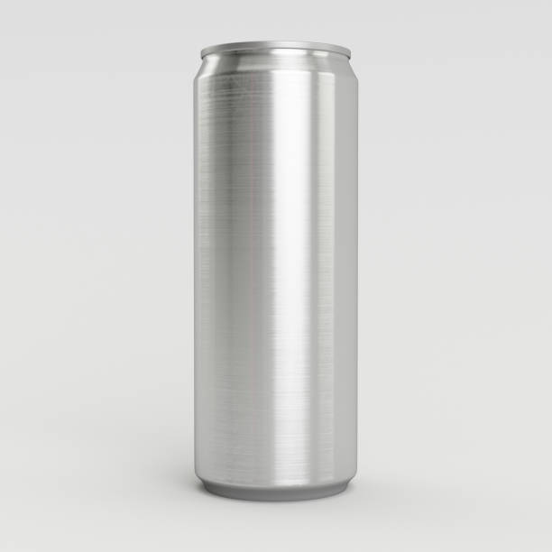 330ml Aluminum Empty 3D Soda Can Render with White Background stock photo