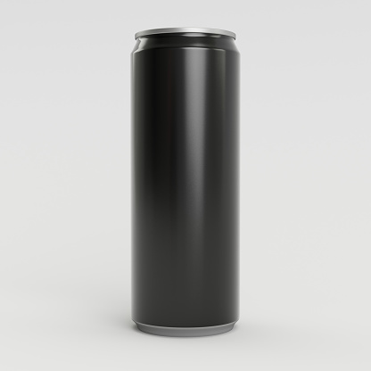 istock 330ml Black Empty 3D Soda Can Render with White Background 860490934