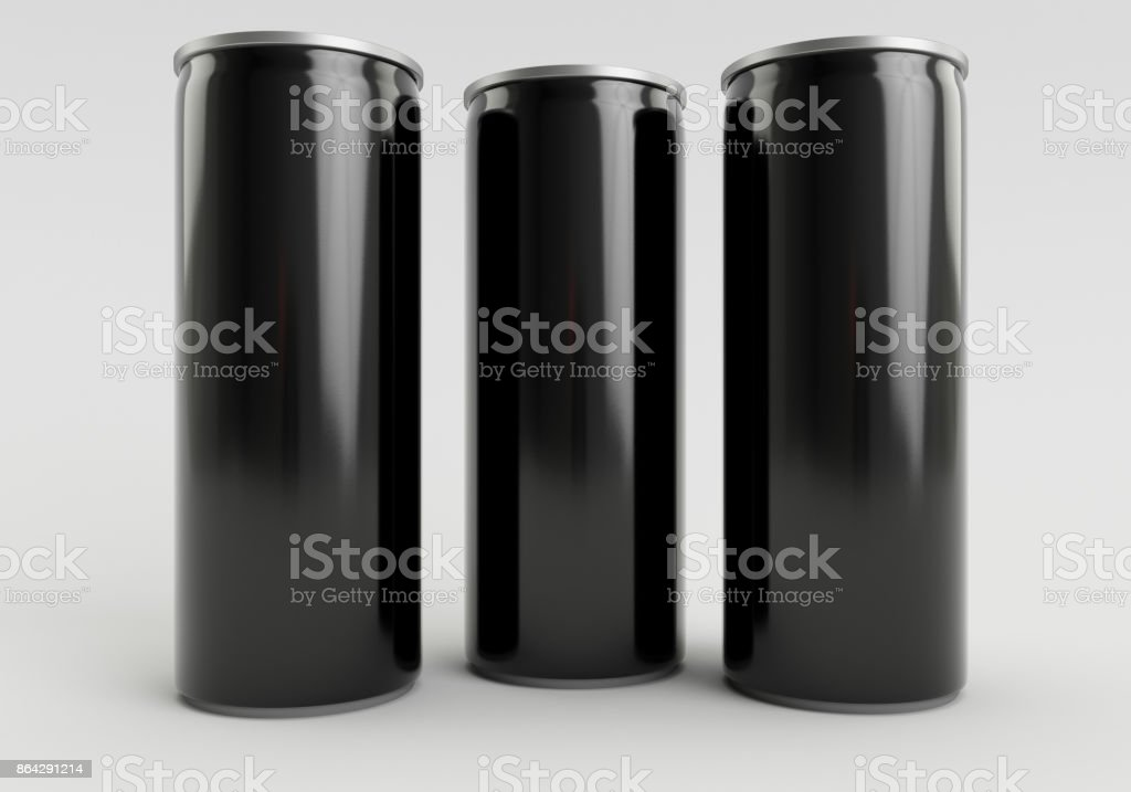330ml Black Empty 3D Three Soda Cans Render with White Background royalty-free stock photo