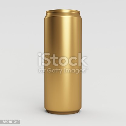 istock 330ml Gold Empty 3D Soda Can Render with White Background 860491042