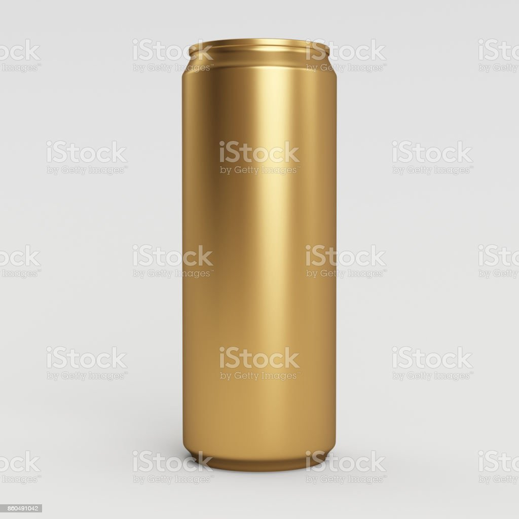 330ml Gold Empty 3D Soda Can Render with White Background stock photo