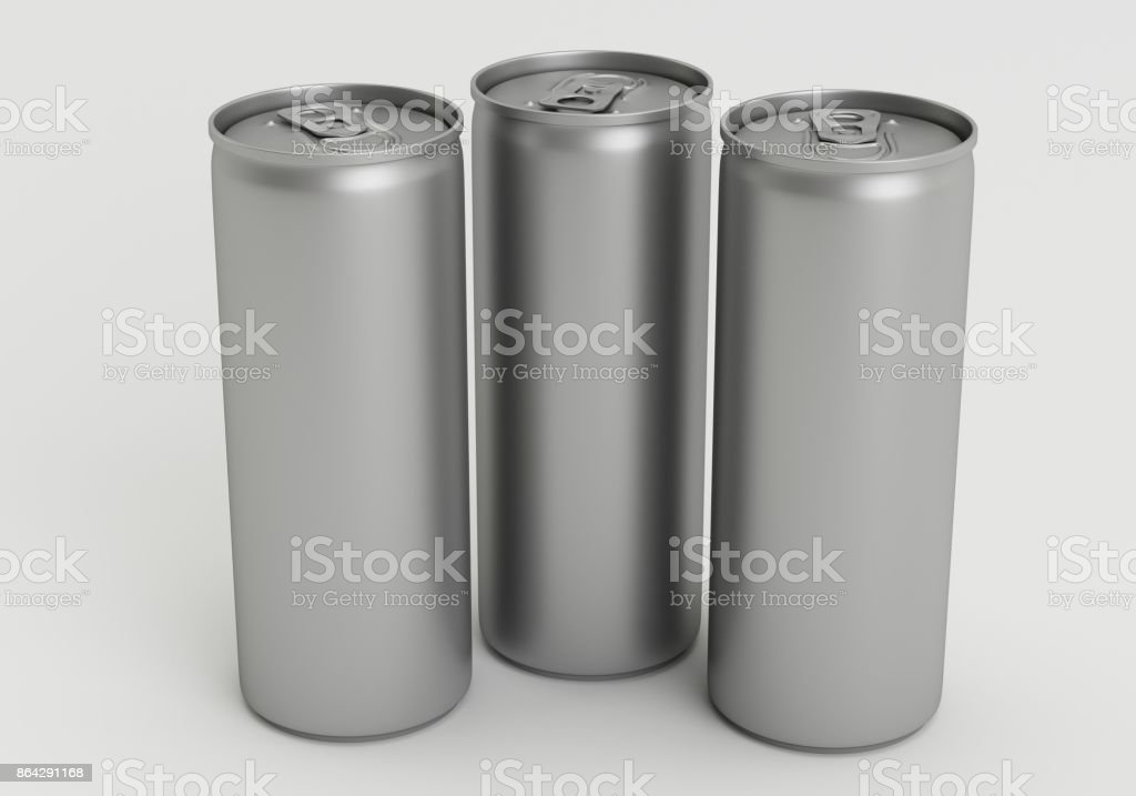 330ml Silver Empty 3D Three Soda Cans Render with White Background royalty-free stock photo