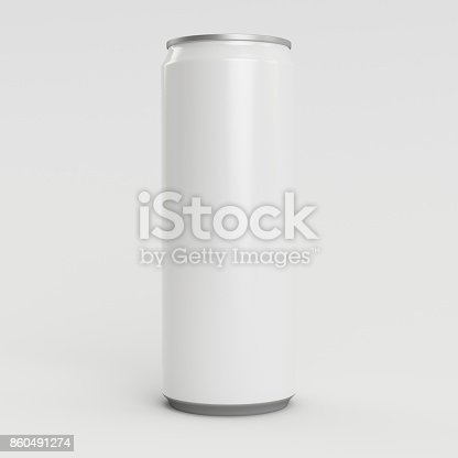 istock 330ml White Empty 3D Soda Can Render with White Background 860491274