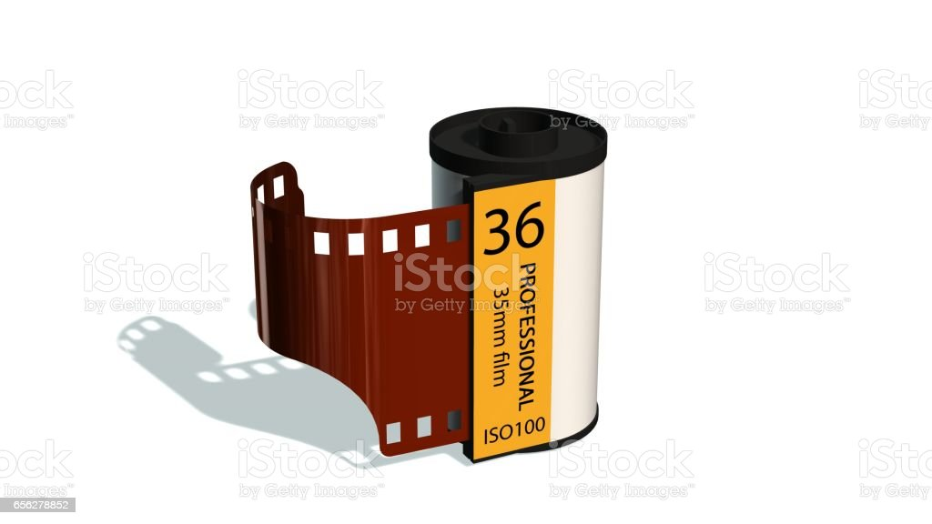 35mm camera photo film container isolated on white stock photo