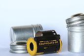 Silver 35mm film case.