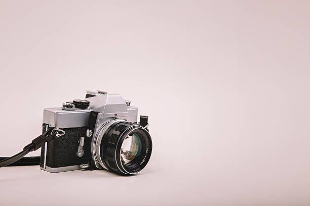 35mm Film Camera on white backgound stock photo