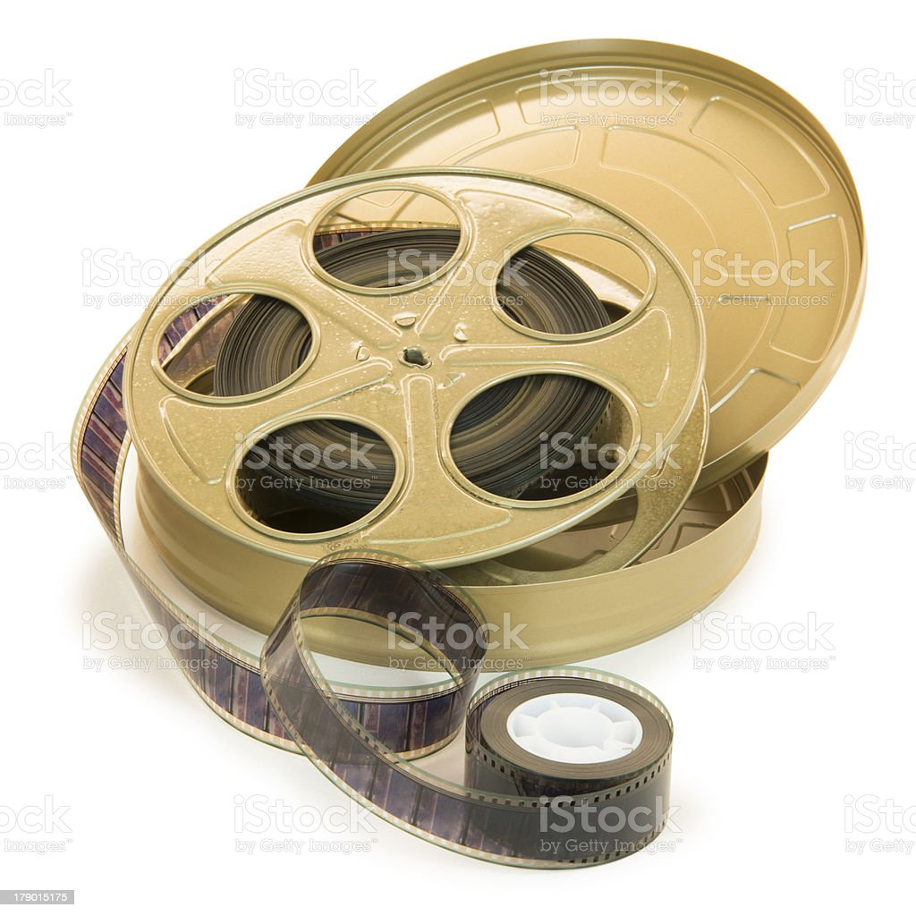 35mm Film In Reel And Its Can stock photo