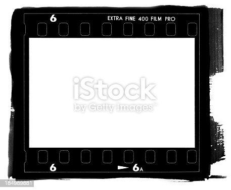 A square medium format film frame contact printed.