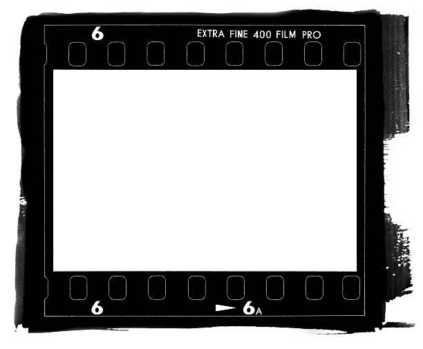 35mm film rebate from a camera A square medium format film frame contact printed. photographic slide stock pictures, royalty-free photos & images