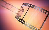 3d render 35mm film strip Gradient Background (Depth of field)