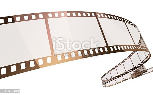 3d render 35mm film strip (isolated on white and clipping path)