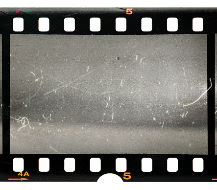 vintage film with scratches and dust on white background