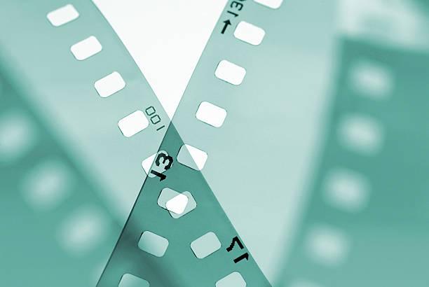 35mm filmstrip styled in studio stock photo