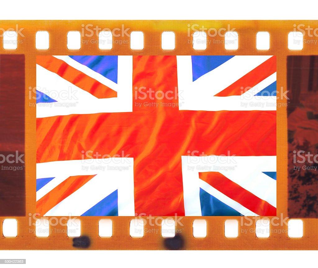 35mm frame photo film with UK, British flag, Union Jack stock photo