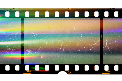 real scan of film material with cool scanning light interferences on the material