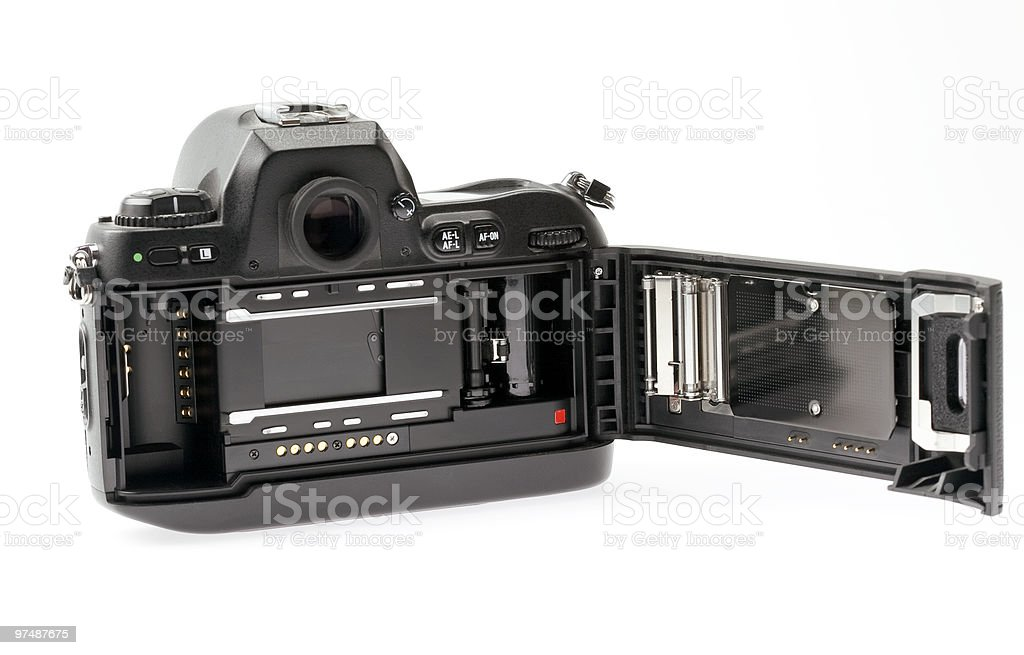 35mm SLR with film door open royalty-free stock photo
