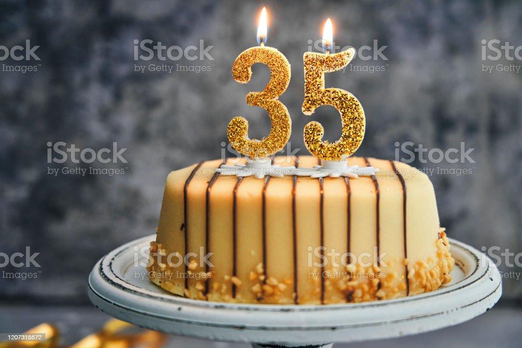 Awe Inspiring 35Th Birthday Cake Stock Photo Download Image Now Istock Personalised Birthday Cards Sponlily Jamesorg