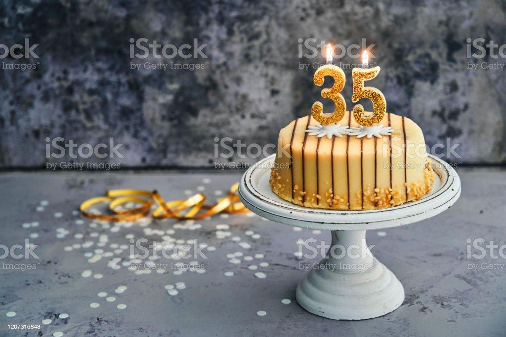 Fabulous 35Th Birthday Cake Stock Photo Download Image Now Istock Personalised Birthday Cards Sponlily Jamesorg